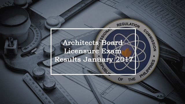 ALE Board Exam: Architects Board Licensure Examination Results – January 2017