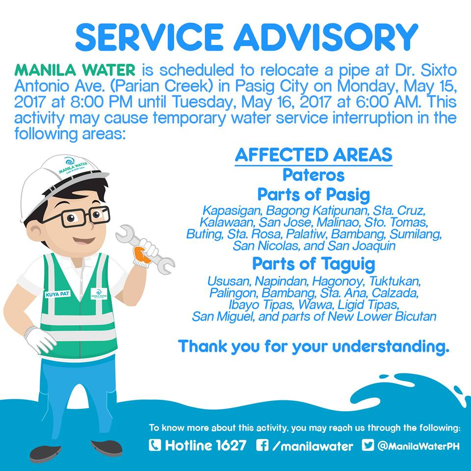 2-Day Water Interruption to Affect 53,000 Households in Metro Manila