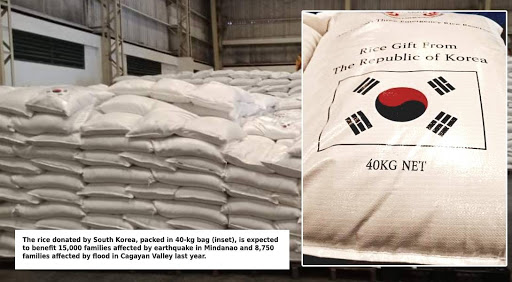South Korea donated 950 metric tons of rice to the PH