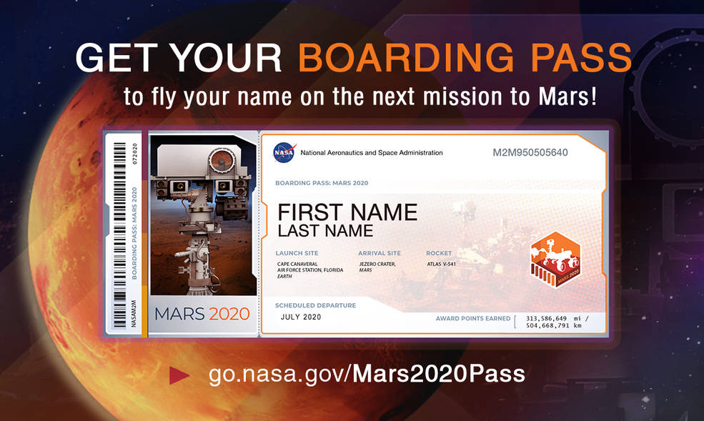 "MARS Nasa ""Send Your Name to Mars"" Program"